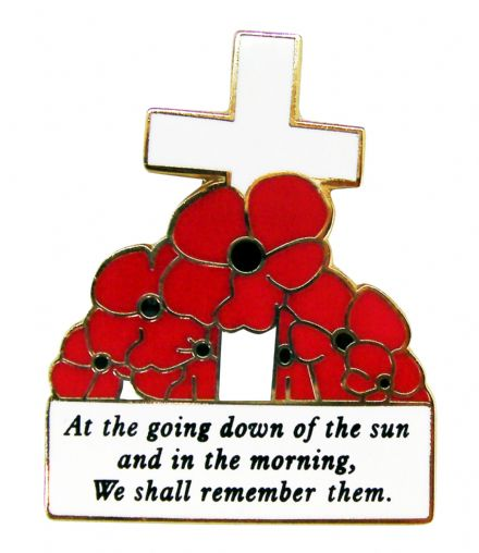 Poppies and Cross Lapel Badge